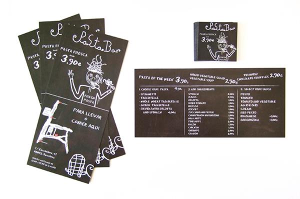 Diseño de tarjetas de visita y flyer para Pastabar