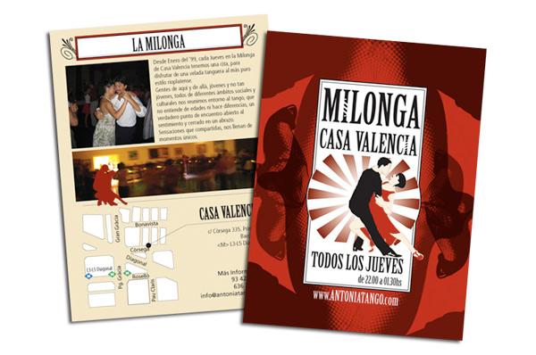 Flyer para la milonga de Casa Valencia