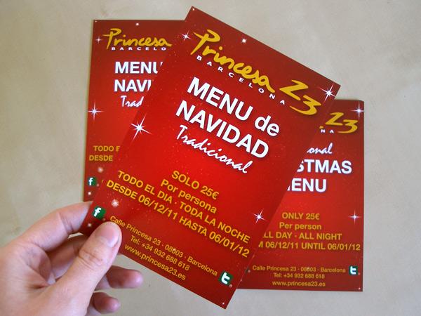Diseño e impresión flyers urgentes brillo restaurante Princesa 23