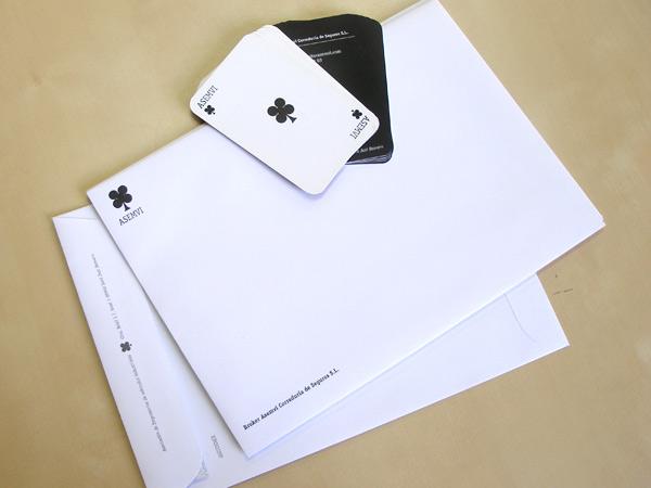 Impresión Offset sobres tarjetas de visita Asemvi
