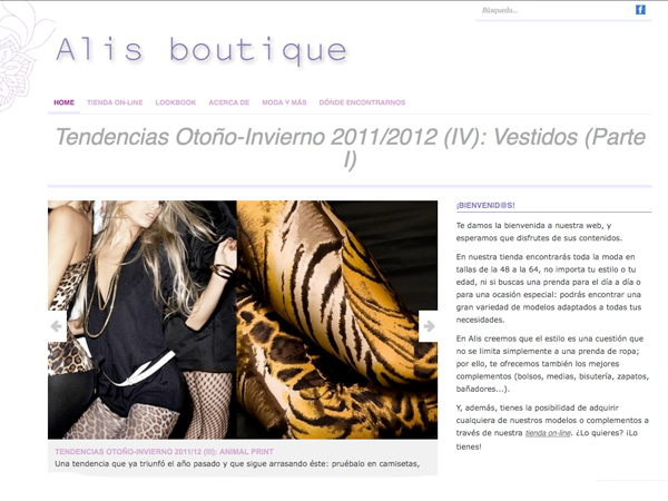 Diseño web originarte: Alis Boutique