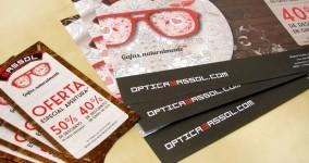 Originarte diseño e impresión dípticos y mantel promocional para Ópticas Bassol