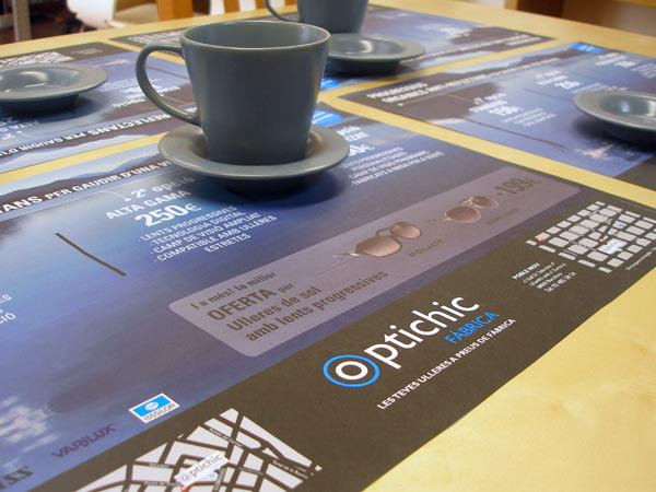 Originarte diseño e impresión mantel promocional para Optichic