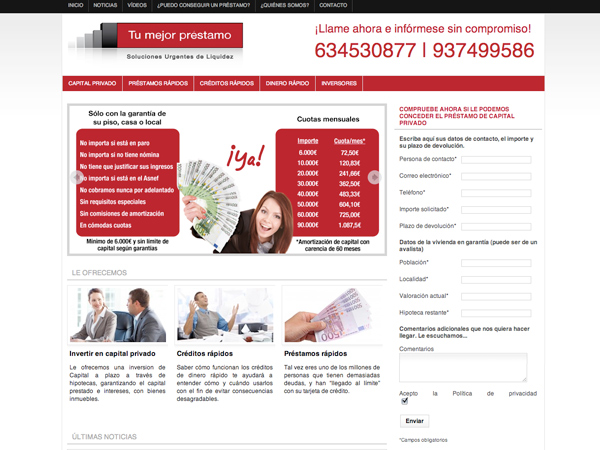 Originarte: Diseño y programación web de Tu mejor préstamo