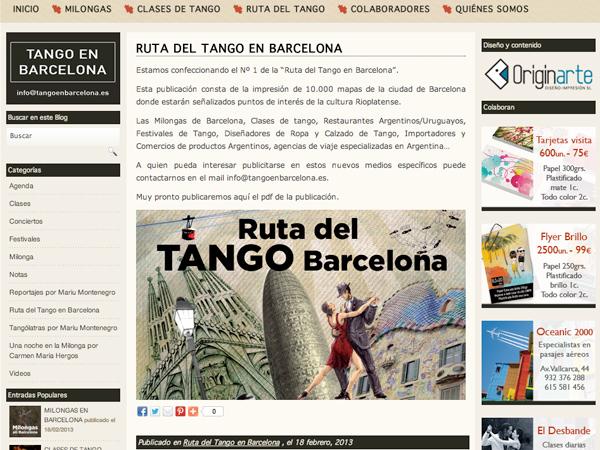 Originarte diseño y programación web para Tangoenbarcelona.es