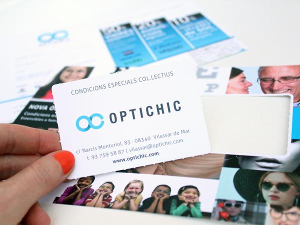 Originarte: Impresión y diseño de tarjetón con carnet para Optichic