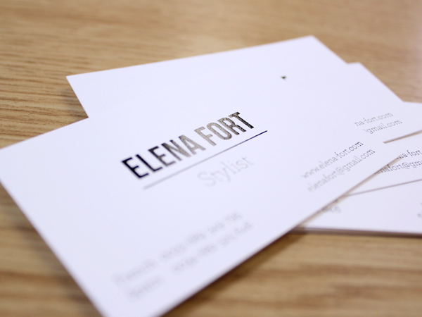 Originarte: Impresión de tarjetas de visita para Elena Fort