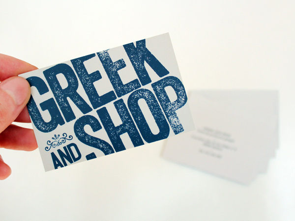 Impresión de tarjetas de visita para Greek and Shop