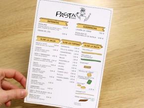 Menú para el restaurante Pasta Bar